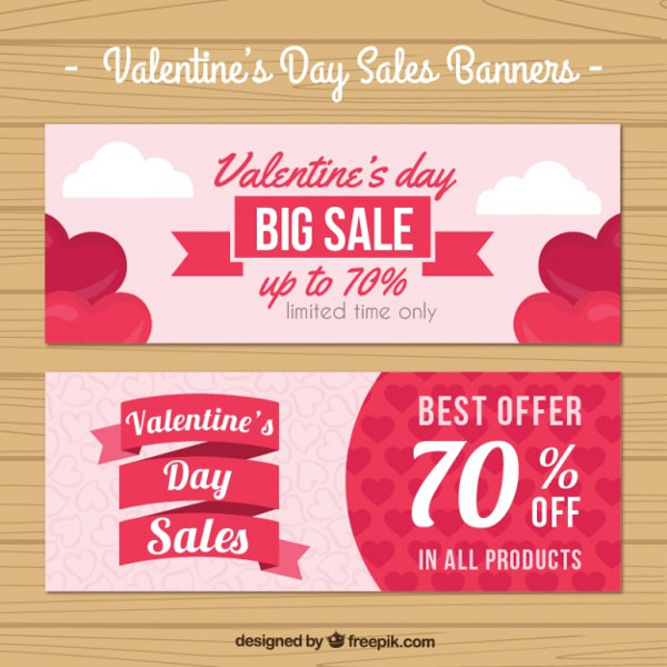 Valentine Day Sales Banners Pack Free Vector