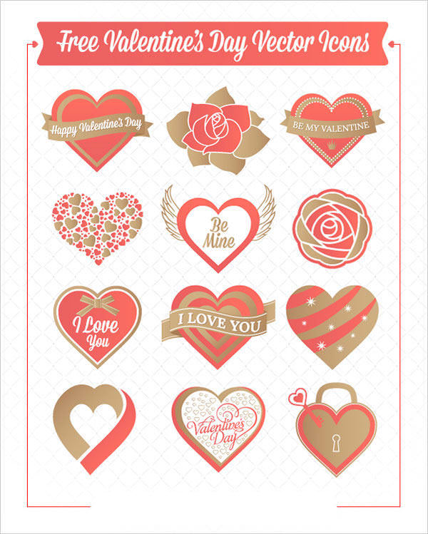 Valentine Hearts and Roses vector Icons