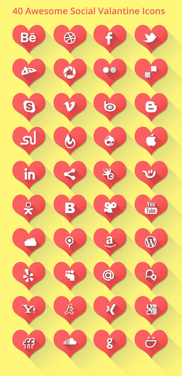 Valentine Long Shadow Social Icons