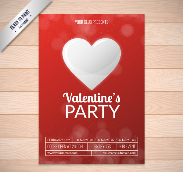 Valentine's Day Party Poster in Red and White Colors
