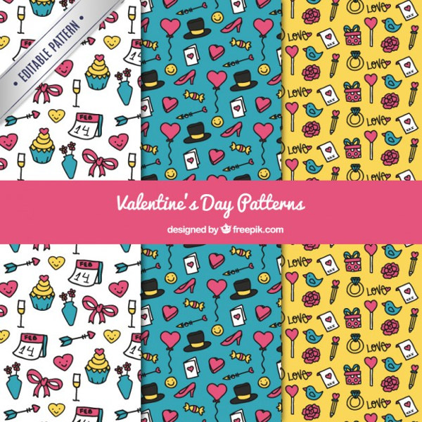 Valentines Day Sketches Elements Pattern