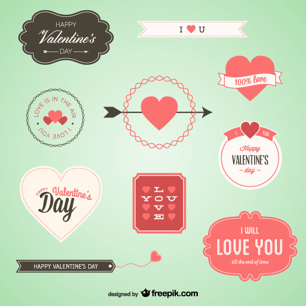 Vector Set of Valentine's Day Banners
