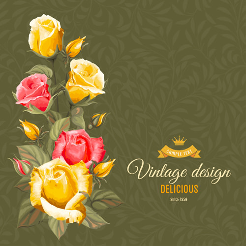 Vintage Floral and Flower Design Background