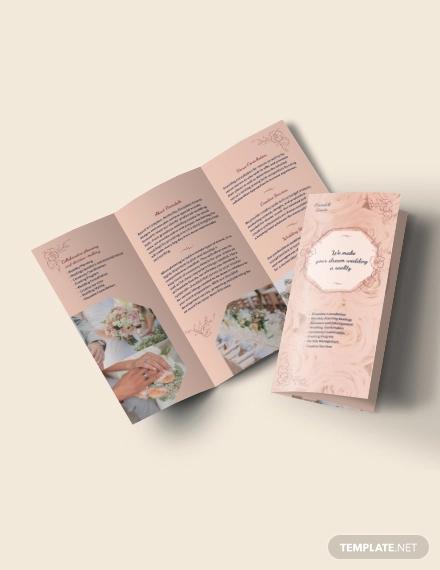 wedding event planner tri fold brochure template