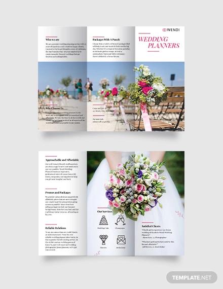 wedding planners tri fold brochure template