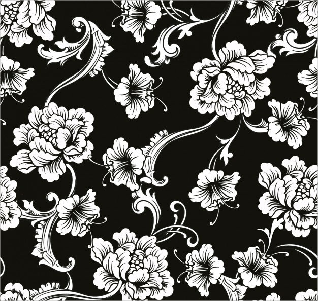 White Flowers in Black Background Free Vector