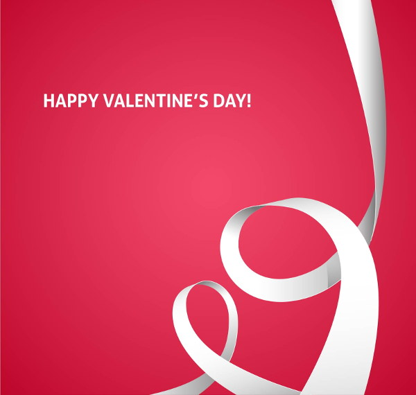White Ribbon Valentine Background