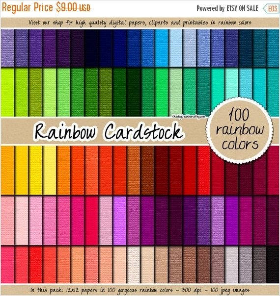 100 Rainbow Cardstock Texture