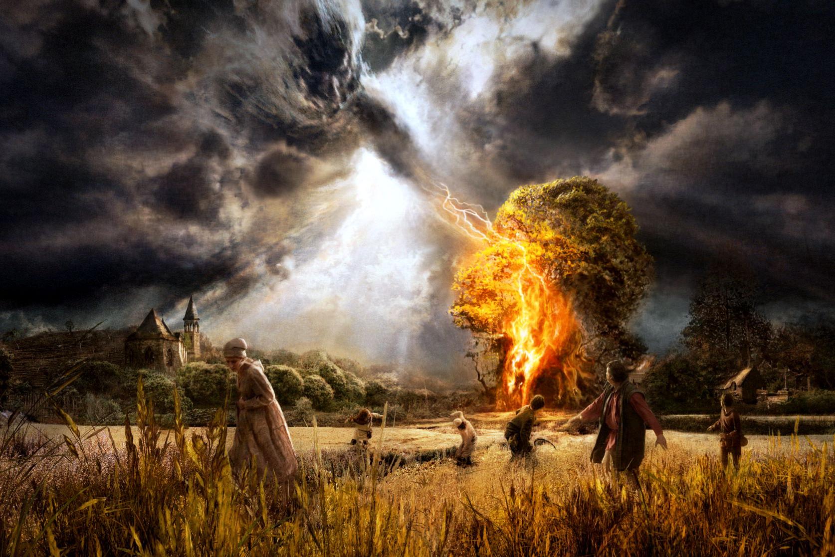 Fantasy Creature Rage Thunder Fire Wallpaper