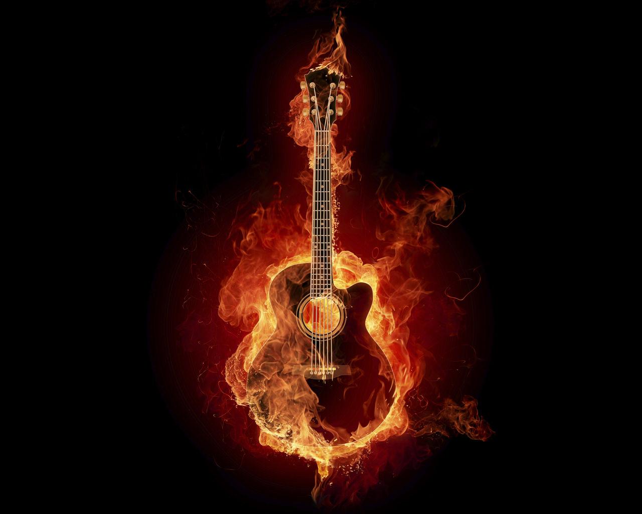 Guitar on Fire Wallpaper