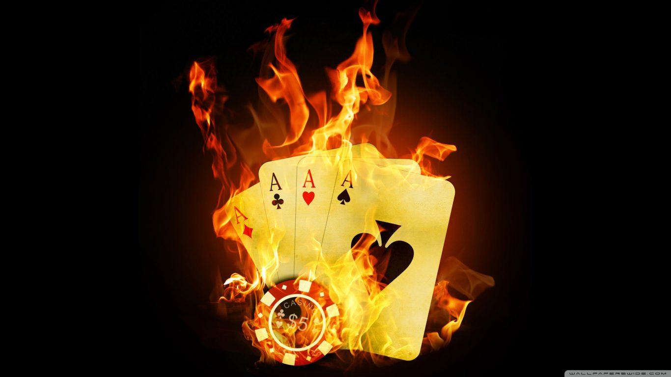 Poker Cards on Fire Wallpaper