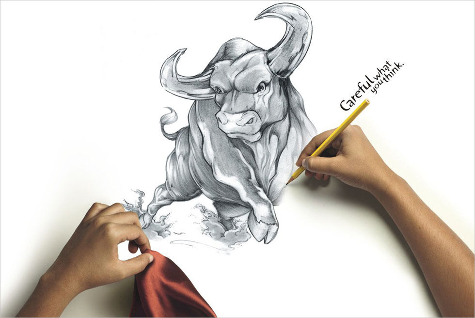 Funny Angry Bull Drawing