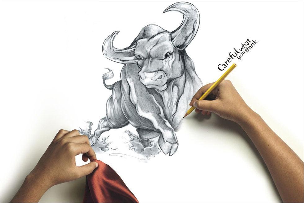 Funny Angry Bull Drawing