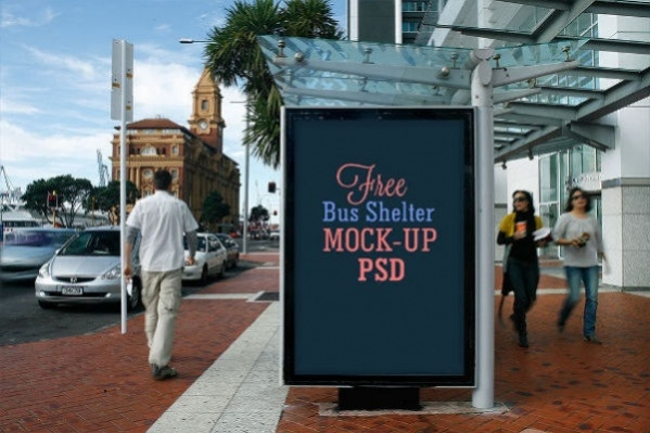 2 free bus shelter side panel outdoor advertising mockup psd1