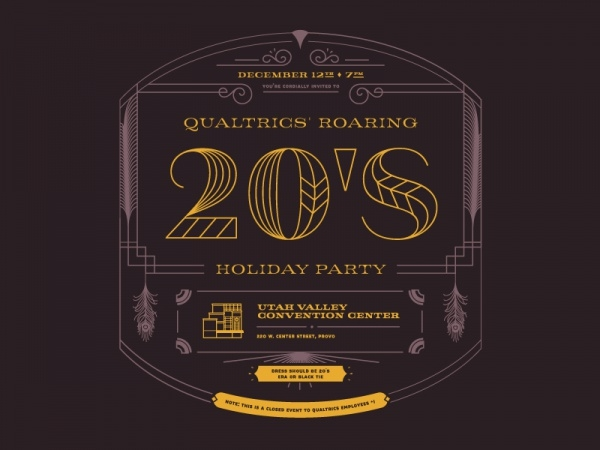 20's Holiday Party Invite Front