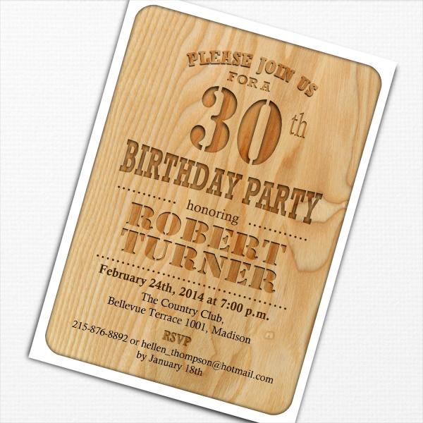 30th Wooden Birthday Invitation