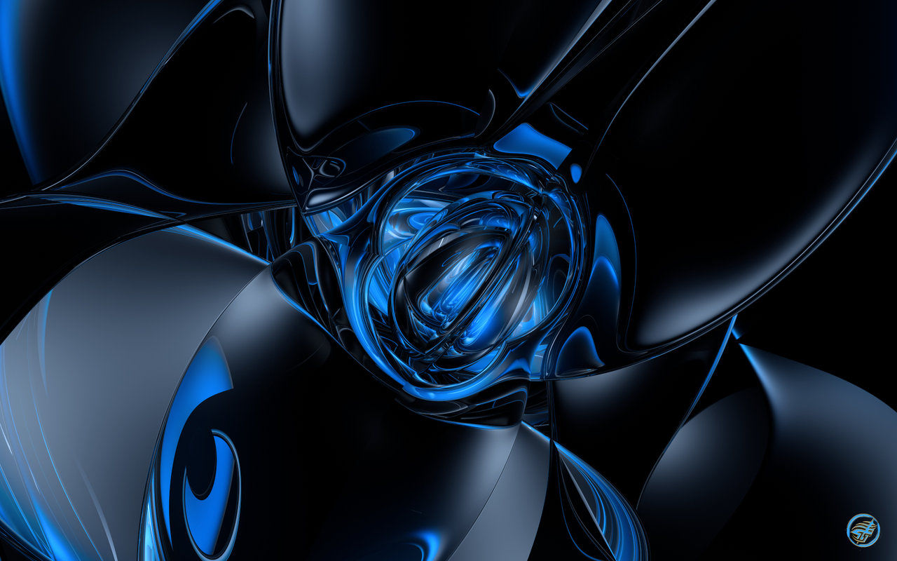 3D Blue & Black Background For Download