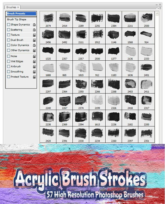 57 High Res Acrylic Brush Strokes