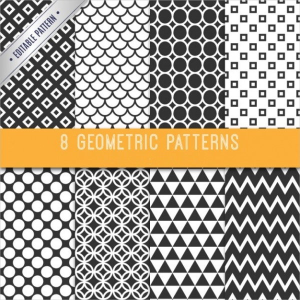 8 Black & White Geometric Patterns