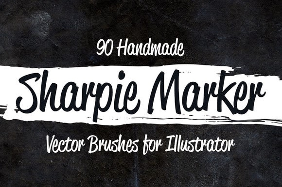 90 Sharpie Marker Vector Brushes