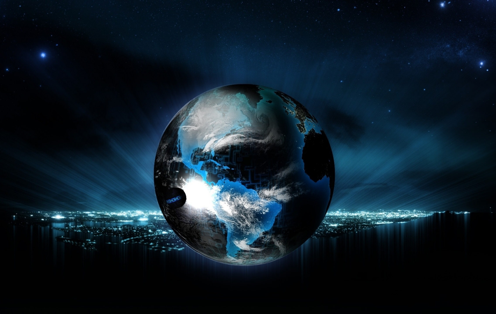 Amazing Globe in Blue & Black Background
