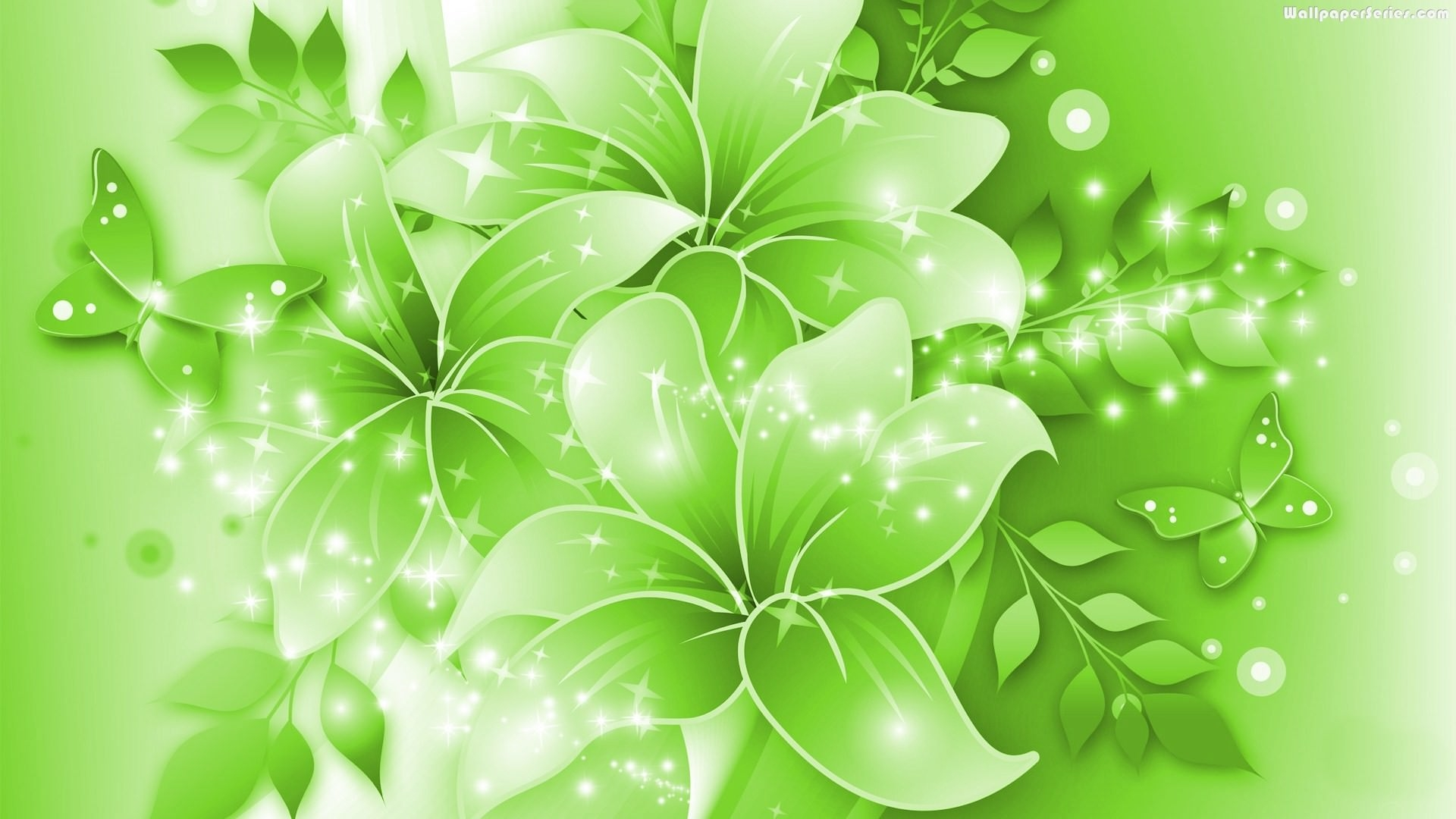 Animated Green Floral Wallpaper