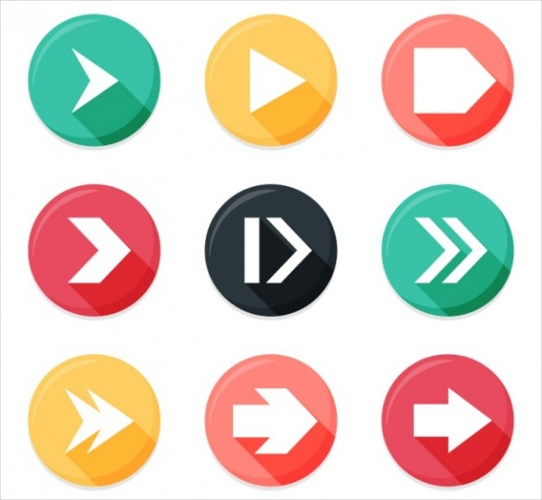 Arrows in Rounded Buttons Design