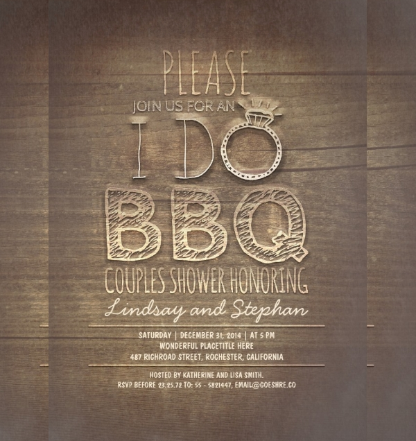 BBQ Couples Wooden Invitation