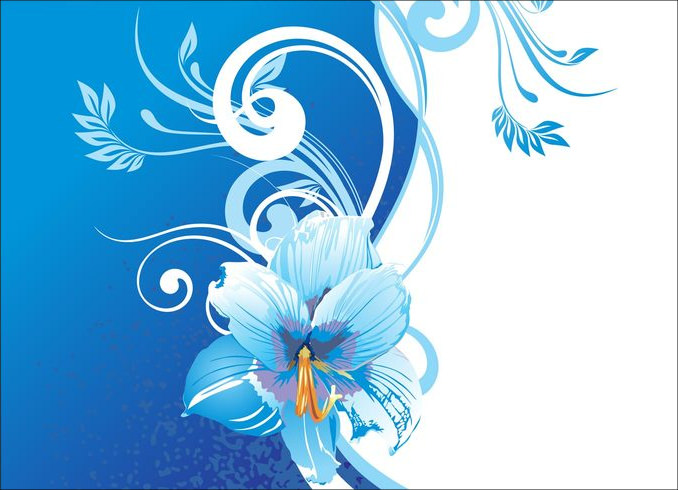 Background With Blue & White Flowers
