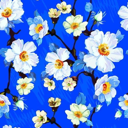 Beautiful Blue Floral Pattern Wallpaper
