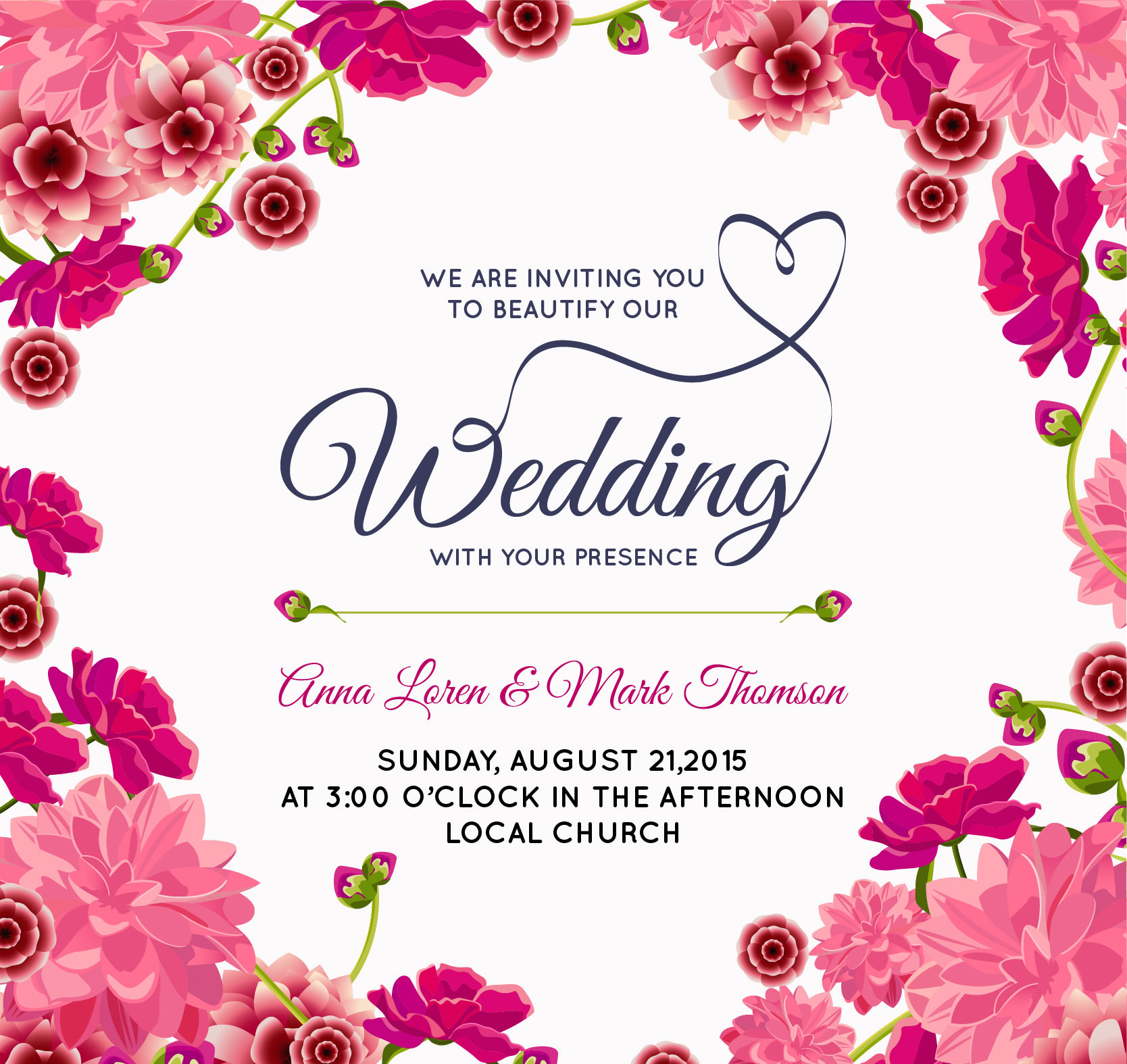 Wedding Invitation Card Designs Beautiful Pink Floral Wedding