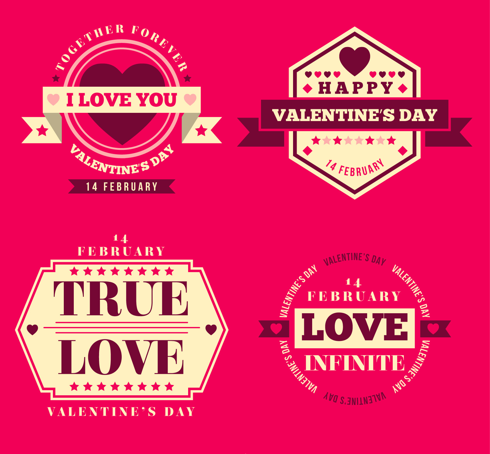 Beautiful Vintage Badges Pack for Valentine's Day