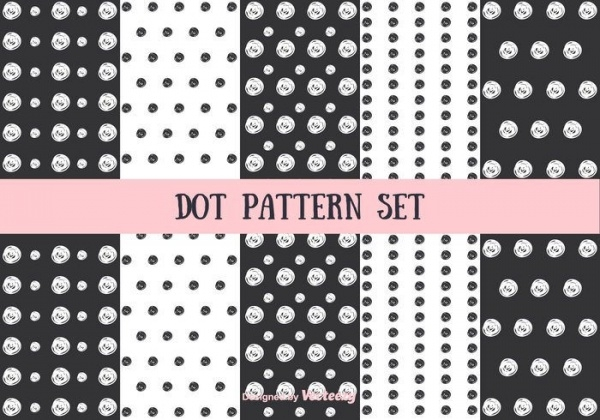 Black & White Dot Pattern Vector Set
