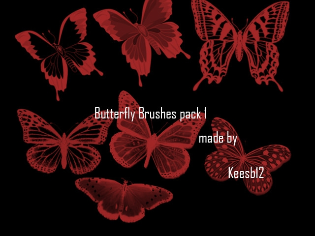 Black and Red Butterfly Brushes Pack