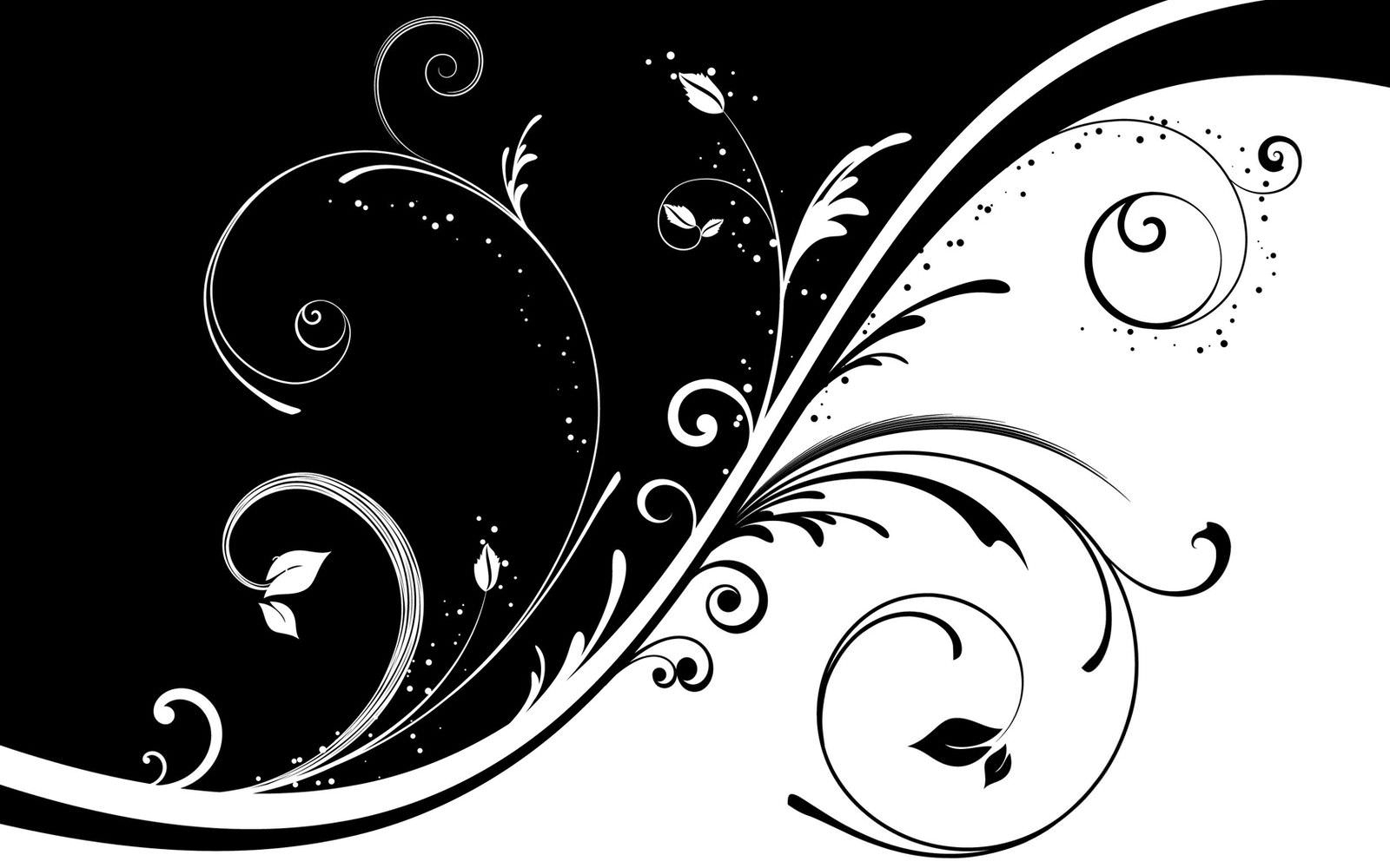 Black and White Abstract Art Flower Wallpaper