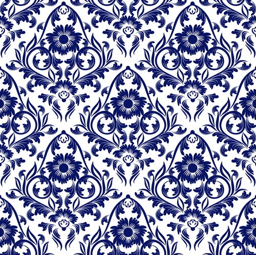 Blue Floral Free Vector seamless Pattern