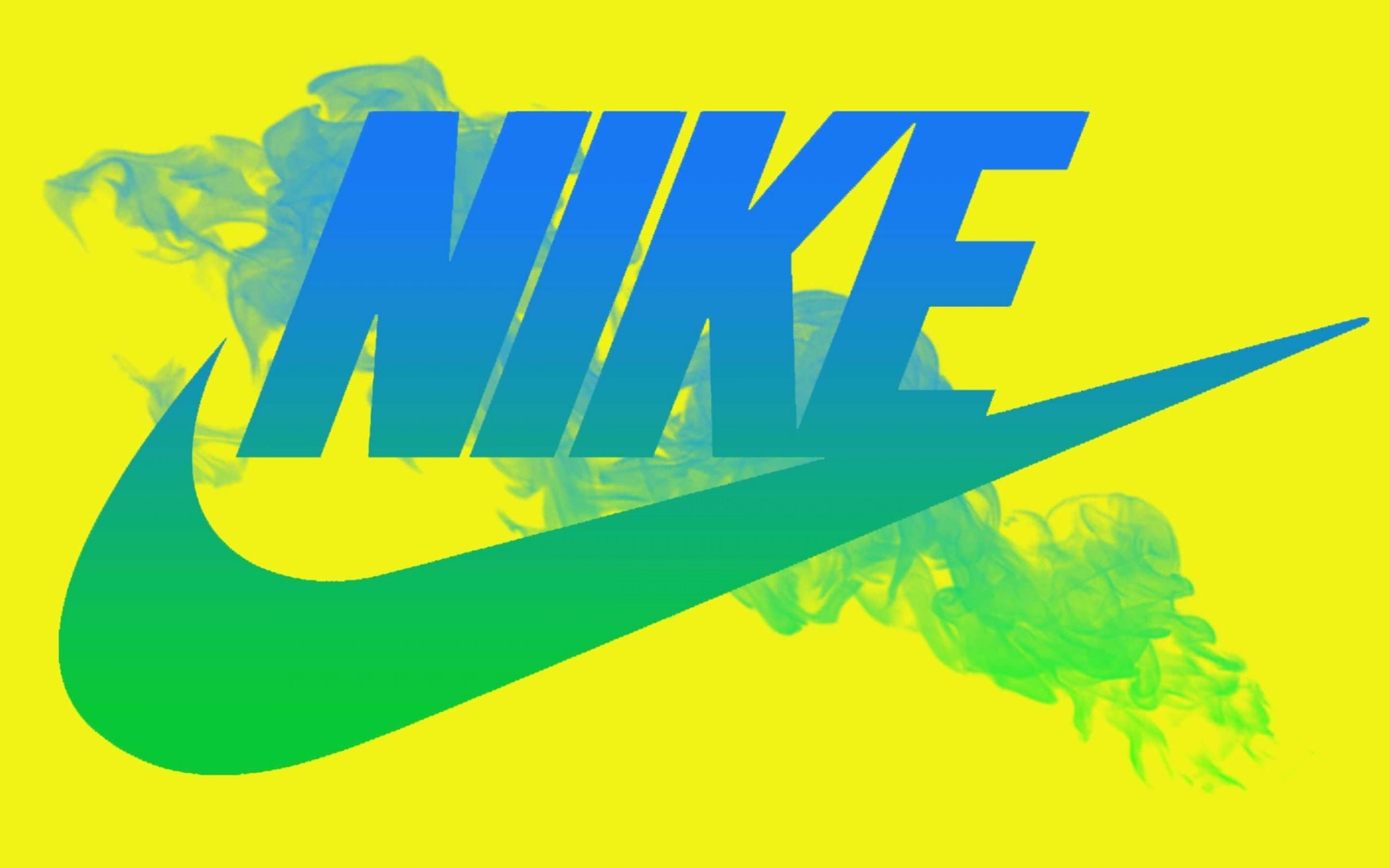 Blue Nike Logo in Yellow Background