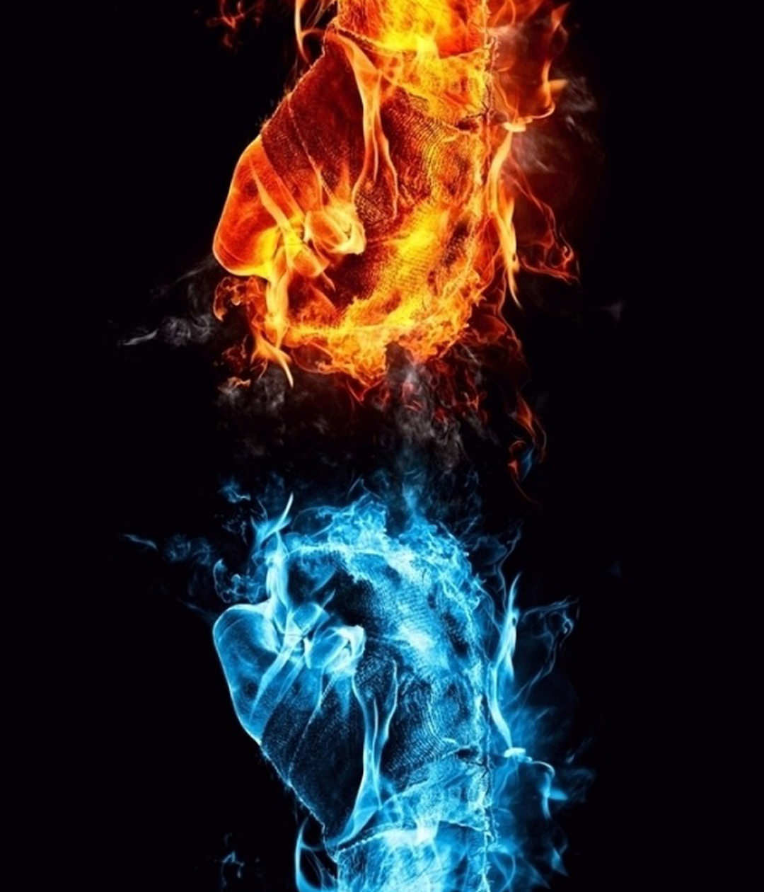 Blue & Red Fire Fist Background