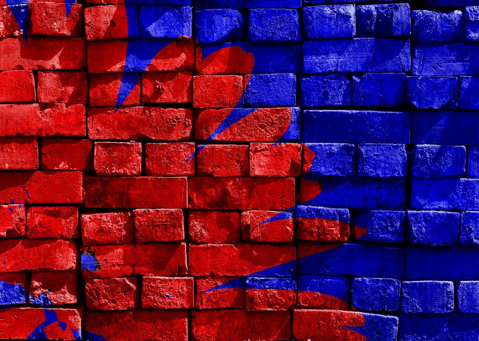 Blue & Red Painted Wall Background