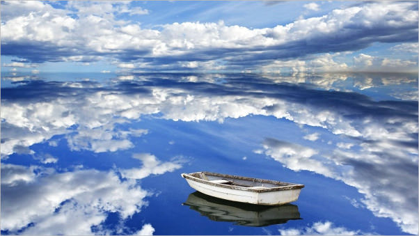 Blue Sky Reflection in Water Background