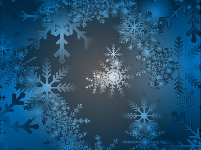 Blue & White Snow Flake Background