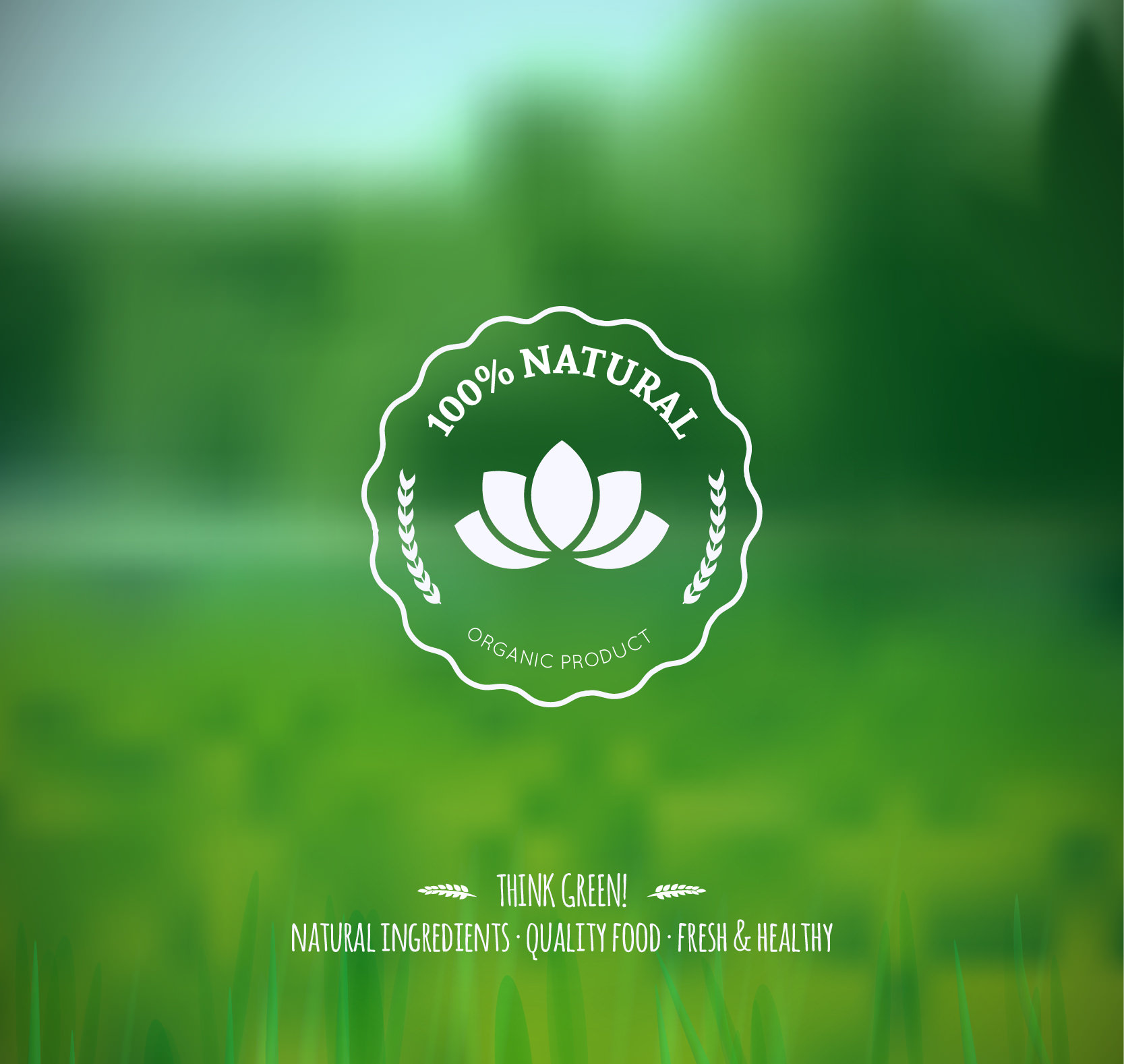 Blurred Nature Background with retro badge