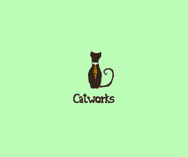 Brown Cat Tie Logo Design For Free