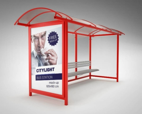Bus Station Citylight Advertising Mockup