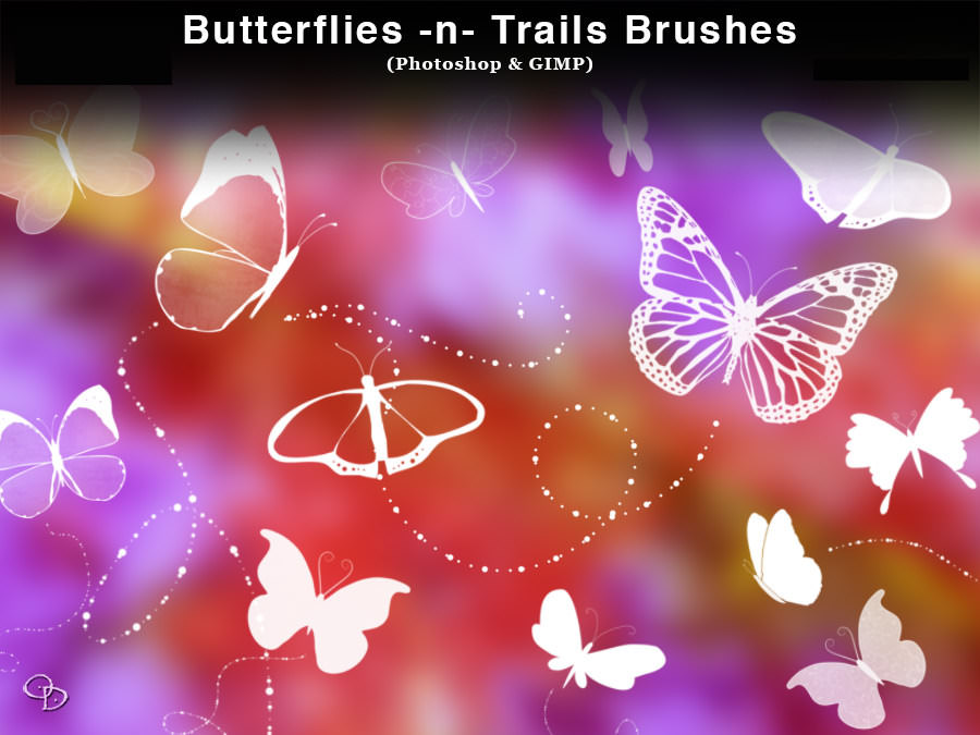 Butterflies and Trails Brushes for Photoshop and Gimp