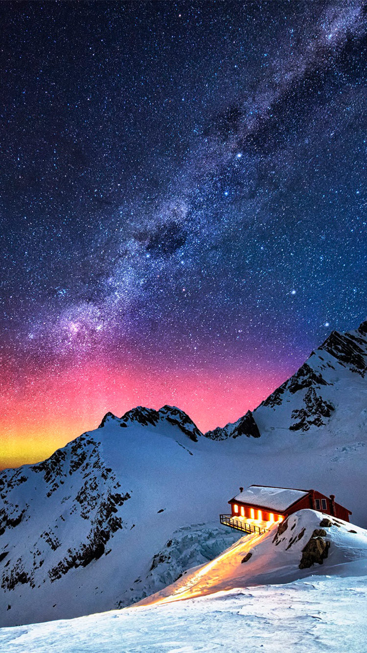 Chalet Aurora Milky Way Stars iPhone Background