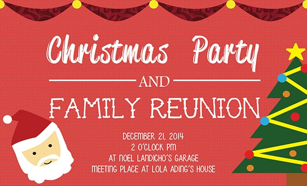 Christmas Party And Family Reunion Invitation  Free Printable Family Reunion Invitations
