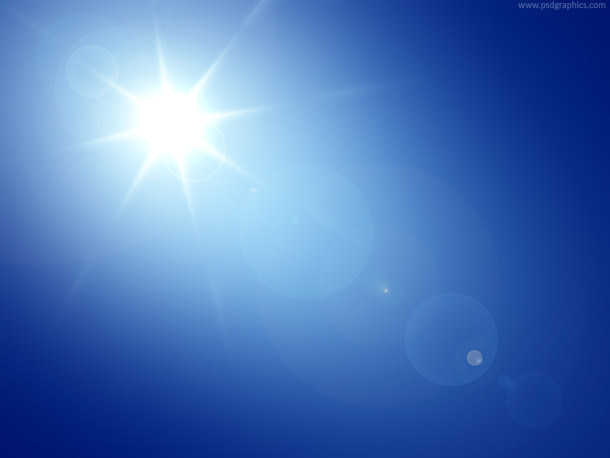 Clear Blue Sky with Sun Background