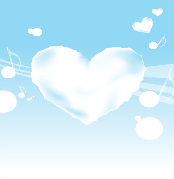 Cloudy Heart on Blue & White Wave Background
