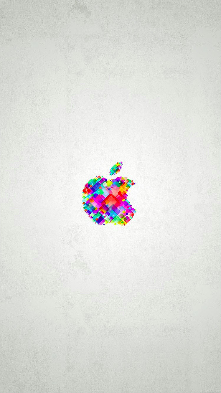 Colorful Apple Logo on White Background For iPhone